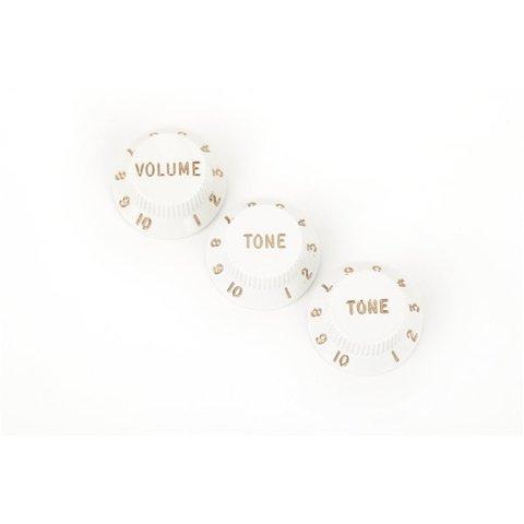 Stratocaster Knobs, White (Volume, Tone, Tone) (3)