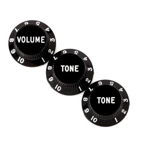 Stratocaster Knobs, Black (Volume, Tone, Tone) (3)