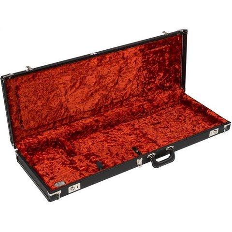 G&G Deluxe Strat/Tele Hardshell Case Black w/ Orange Plush Interior Fender Logo