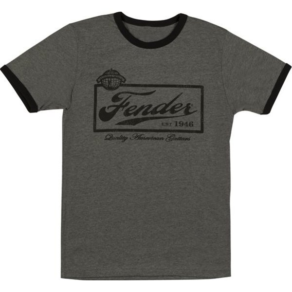 Fender Fender Beer Label Mens T-Shirt, Black, XXL