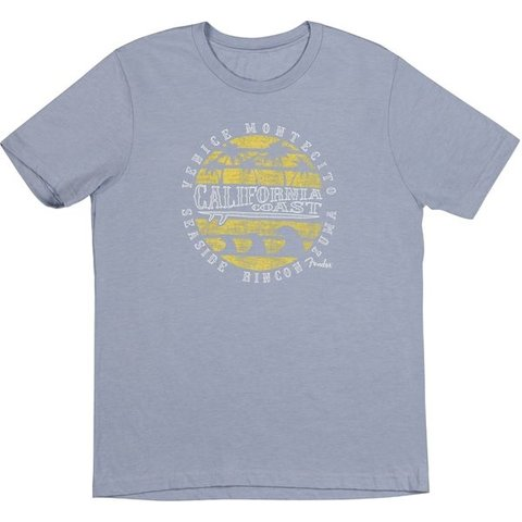 Fender Cali Coastal Yellow Waves Men's Tee, Blue, L