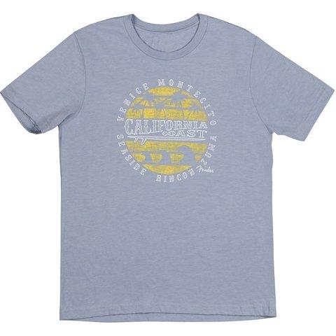 Fender Cali Coastal Yellow Waves Men's Tee, Blue, S
