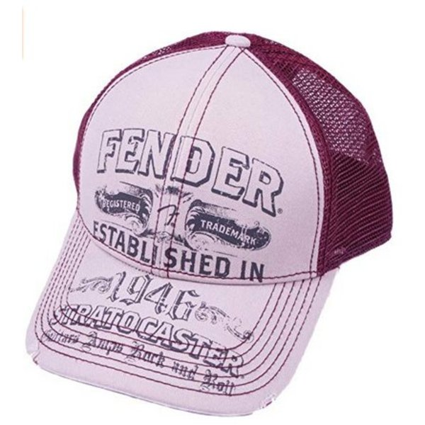 Fender Fender Stratocaster Trucker Cap, Off-White/Wine, One size