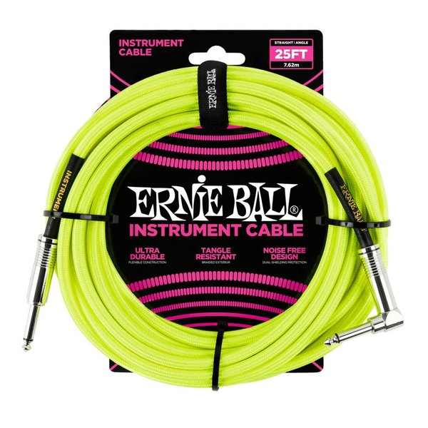 Ernie Ball 6057 Ernie Ball 25ft. Straight / Angle Braided Neon Yellow Black Gold Shrink