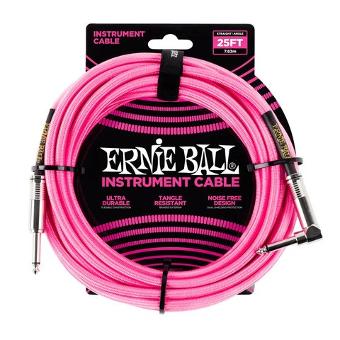 6065 Ernie Ball 25 Ft. Straight / Angle Braided Neon Pink Cable Black / Gold Shrink