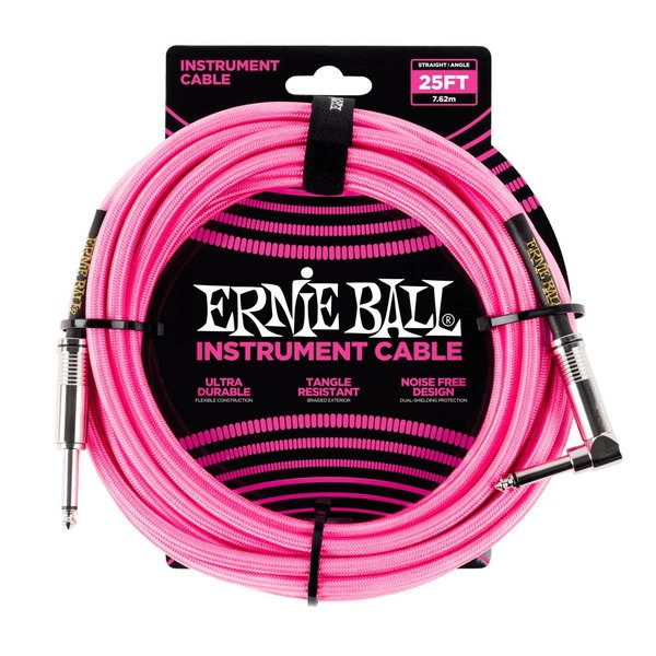 Ernie Ball 6065 Ernie Ball 25 Ft. Straight / Angle Braided Neon Pink Cable Black / Gold Shrink