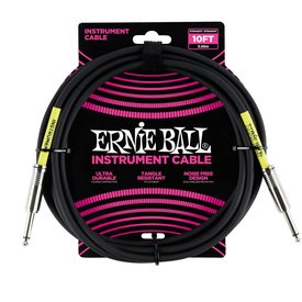 Ernie Ball 6048 Ernie Ball 10 Ft. Straight / Straight Black Jacket Pink Sleeve