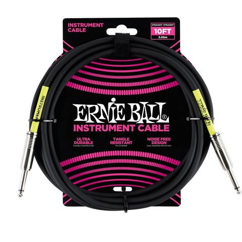 6048 Ernie Ball 10 Ft. Straight / Straight Black Jacket Pink Sleeve