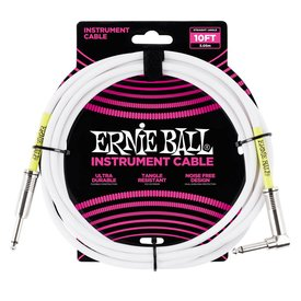 Ernie Ball 6049 Ernie Ball 10 Ft. Straight / Angle White Jacket / Green Sleeve
