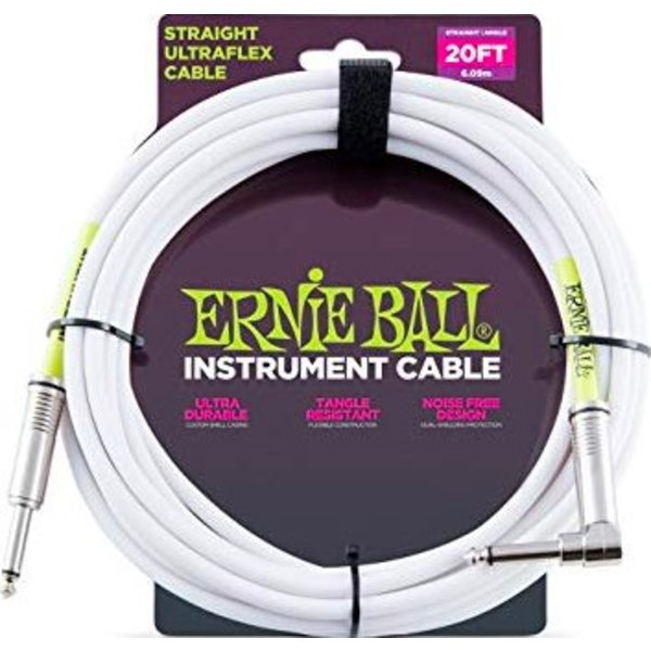 Ernie Ball 6047 Ernie Ball 20ft. Straight / Angle White Jacket / Green Sleeve
