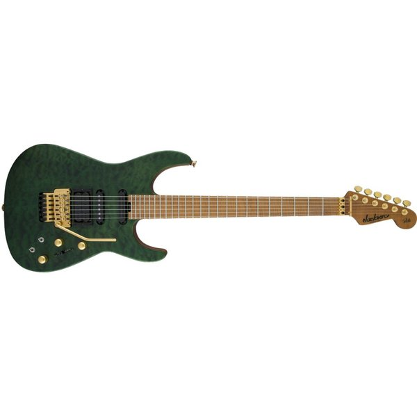 Jackson USA Signature Phil Collen PC1 Satin Stain, Caramelized Flame Maple Fngrbd, Satin Transparent Green