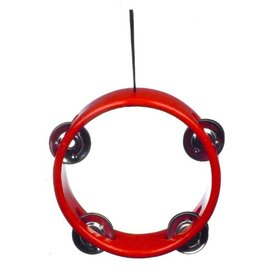 "Music Treasures Co. Red Tambourine Ornament 3"" diameter"