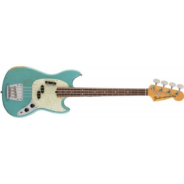 Fender JMJ Road Worn Mustang Bass, Rosewood Fingerboard, Faded Daphne Blue