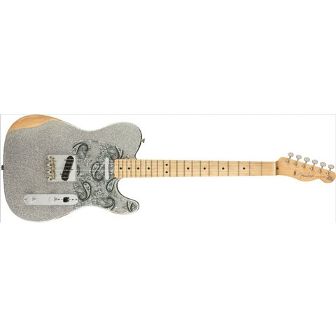 Fender Brad Paisley Roadworn Telecaster Maple Neck Silver Sparkle