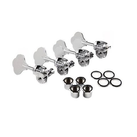 Deluxe ''F'' Stamp Bass Tuning Machines, Left-Hand, (4), Chrome
