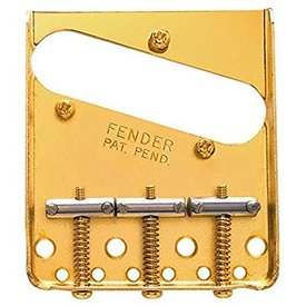 Fender 3-Saddle American Vintage Telecaster Bridge Assembly with Chromed-Brass Saddles (Gold)