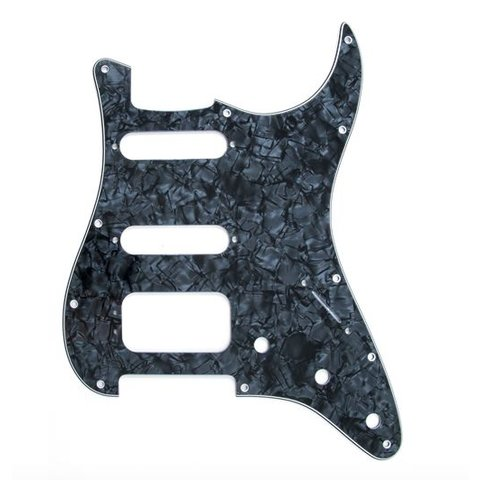 Pickguard, Stratocaster H/S/S (3-Screw Mount HB), Black Pearl, 11-Hole Mount, 4-Ply