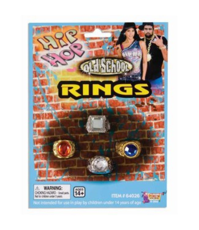 Forum Novelties Ring, Men's Bling - 4 Pack