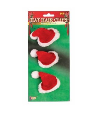 Forum Novelties Santa Hat Hair Clips, 3 pcs - Plush by Forum Novelties