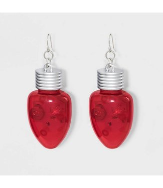 Forum Novelties Christmas Bulb Earrings, Red - Light Up by Forum Novelties