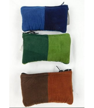 "Patchwork Corduroy glass pouch with zipper 3""x5"" assorted colors by Ixchel Inc."
