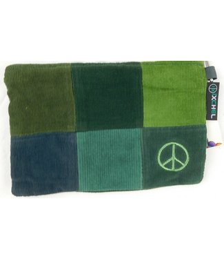 Peace Symbol hand-embroidered on patchwork Corduroy ID purse by Ixchel Inc