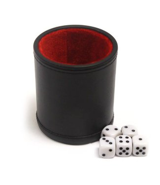 Professional Dice Cup, Leather - With 5 Dice
