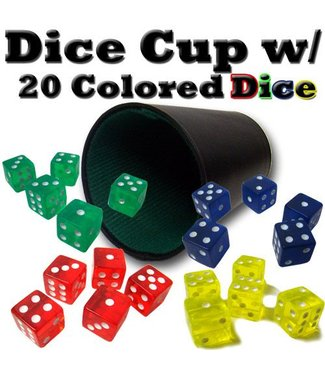 Dice Cup, Synthetic Leather With 20 Dice