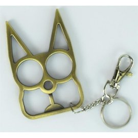 Key Chain - Cat Self Defensive,  Champagne Finish