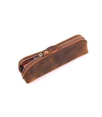 Leather Zipper Pouch, Brown - Handmade