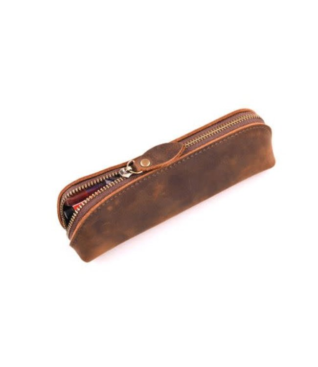 Leather Zipper Pouch, Brown - Handmade