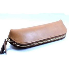 Leather Zipper Pouch, Tan - Handmade