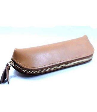 Leather Zipper Pouch, Tan - Handmade