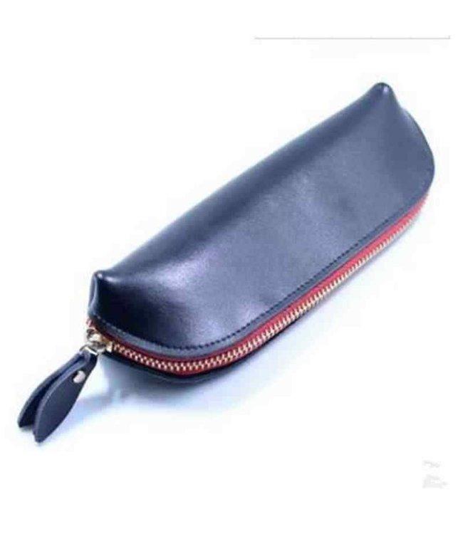 Leather Zipper Pouch, Black - Handmade