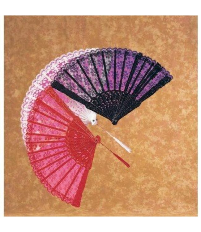 Rubies Costume Company Large Lace Fan - Black