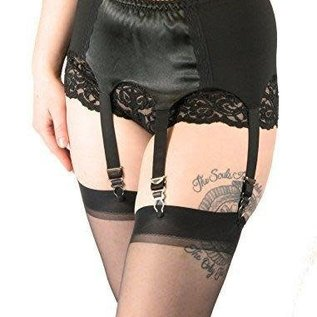 Women's Vintage Style Black Satin Garter Belt with Stockings Set, XL by Nyteez and Leg Avenue