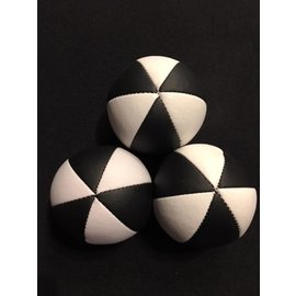 Juggling Balls Pro, 6 Panel 3 Set Blk/Wht, Ultra Leather Bird Seed Filled by Ronjo