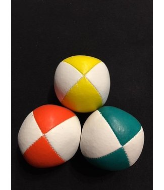 Juggling Balls Pro, 4 Panel 3 Set Grn/Wht, Ylw/Wht, Org/Wht Ultra Leather Bird Seed Filled by Ronjo