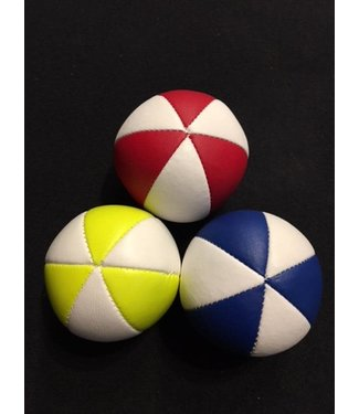 Juggling Balls Pro, 6 Panel 3 Set Red/Wht, Ylw/Wht. Blue/Wht Faux Leather Bird Seed Filled by Ronjo