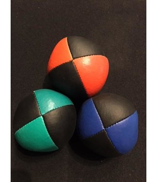 Juggling Balls Pro, 4 Panel 3 Set Org/Blk, Grn/Blk, Blue/Blk Ultra Leather Bird Seed Filled by Ronjo