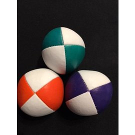 Juggling Balls Pro, 4 Panel 3 Set Org/Wht, Grn/Wht, Purp/Wht Ultra Leather Bird Seed Filled by Ronjo