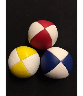 Juggling Balls Pro, 4 Panel 3 Set Red/Wht, Ylw/Wht, Blu/Wht Ultra Leather Bird Seed Filled by Ronjo
