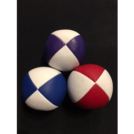 Juggling Balls Pro, 4 Panel 3 Set Red/Wht, Pur/Wht, Blue/Wht Faux Leather Bird Seed Filled by Ronjo