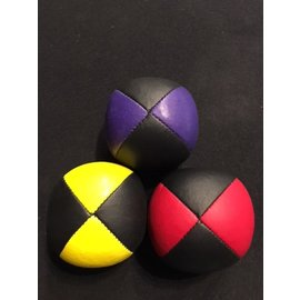 Juggling Balls Pro, 4 Panel 3 Set Red/Blk, Ylw/Blk, Purp/Blk Ultra Leather Bird Seed Filled by Ronjo