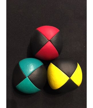 Juggling Balls Pro, 4 Panel 3 Set Red/Blk, Ylw/Blk, Grn/Blk Ultra Leather Bird Seed Filled by Ronjo