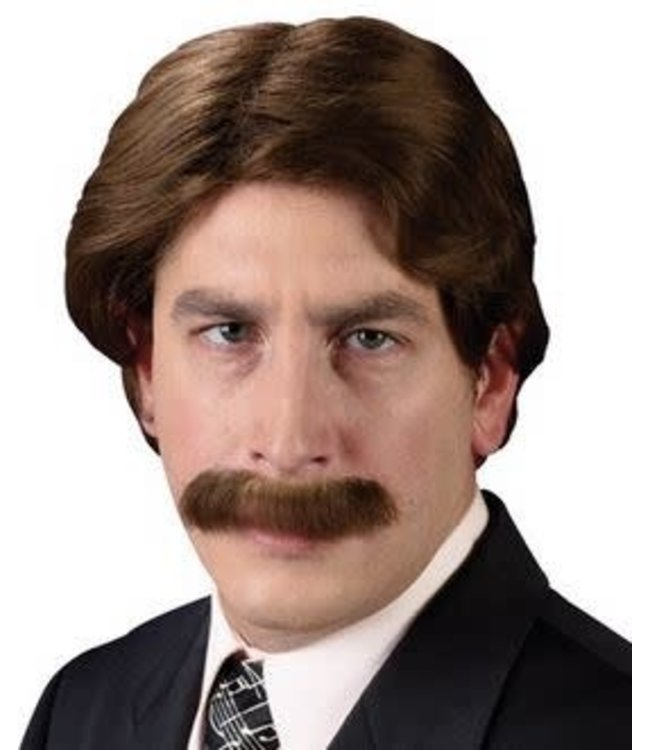 Hollywood Star 70's Wig And Mustache, Brown by Fun World