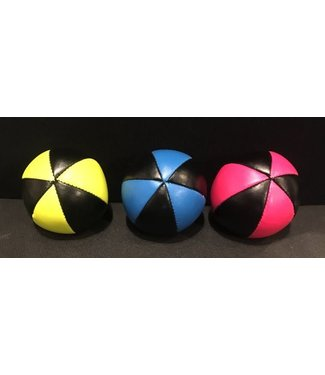 Juggling Balls Pro, 6 Panel 3 Set Pink/Blk, Ylw/Blk, Blue/BlkFaux Leather Bird Seed Filled by Ronjo