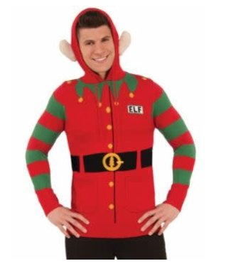 Forum Novelties Christmas Sweater, Elf Hoodie Med 38