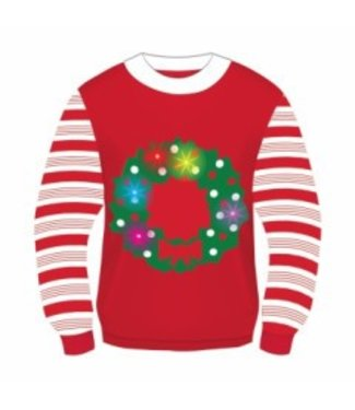 Forum Novelties Christmas Sweater, Light Up Wreath - L 42-44