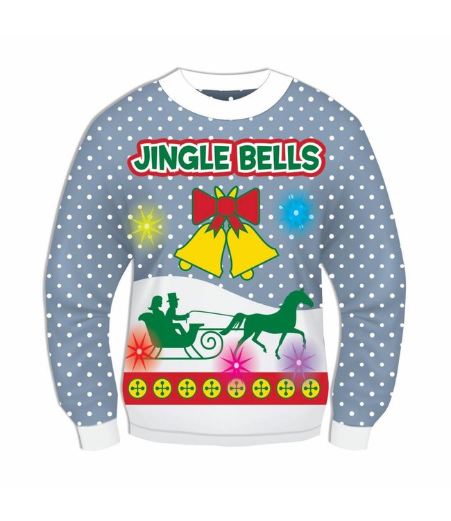 Forum Novelties Christmas Sweater, Jingle Bells BLUE Light  Sound!  XL 46-48